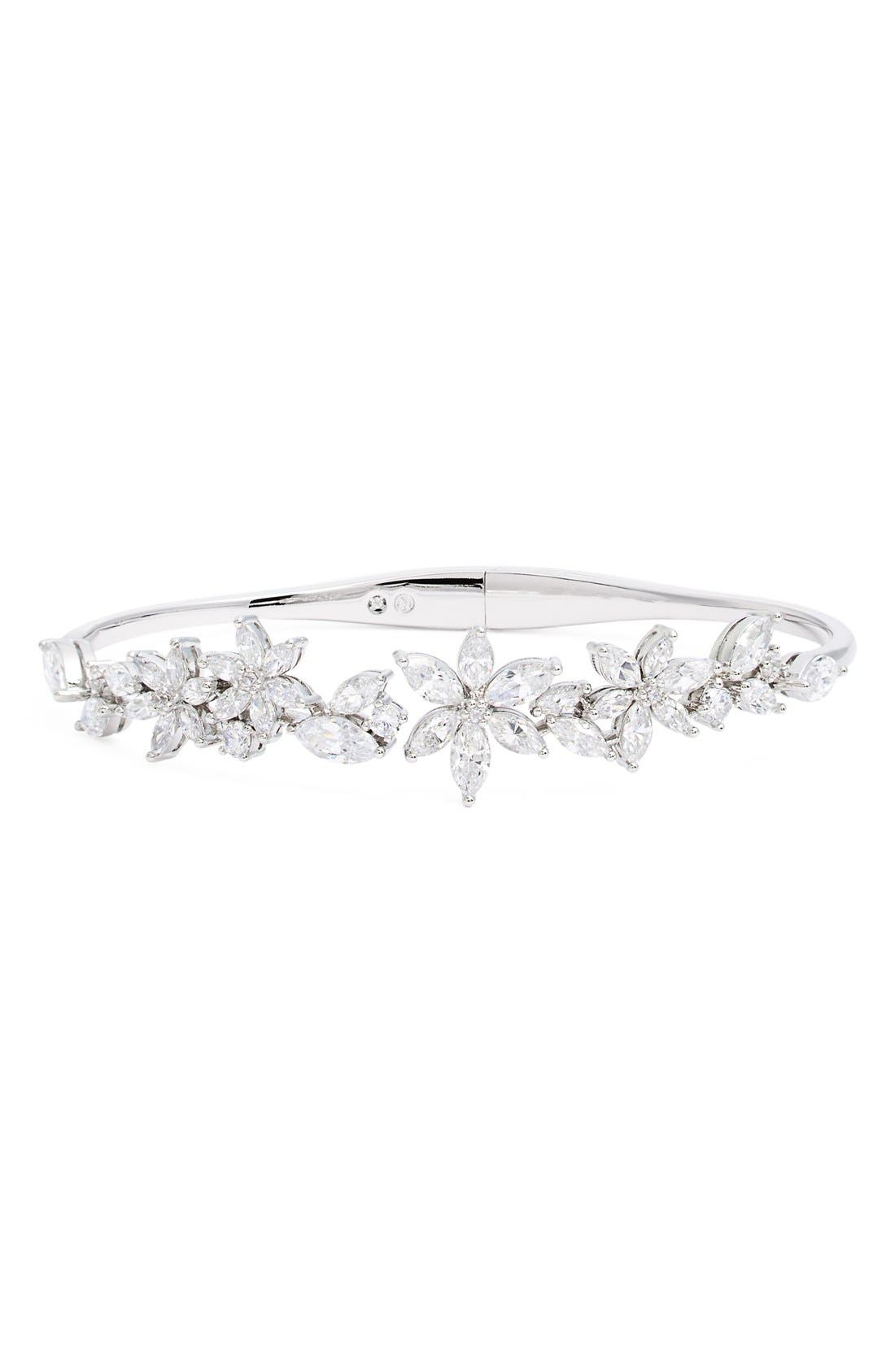 Alternate Image 1 Selected - Nadri Floral Crystal Hinged Bangle