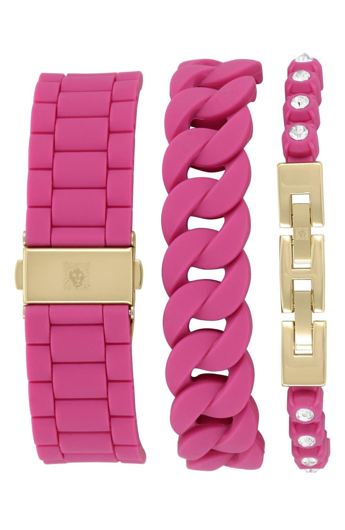 Alternate Image 2  - Anne Klein Silicone Bracelet Watch Set, 36mm