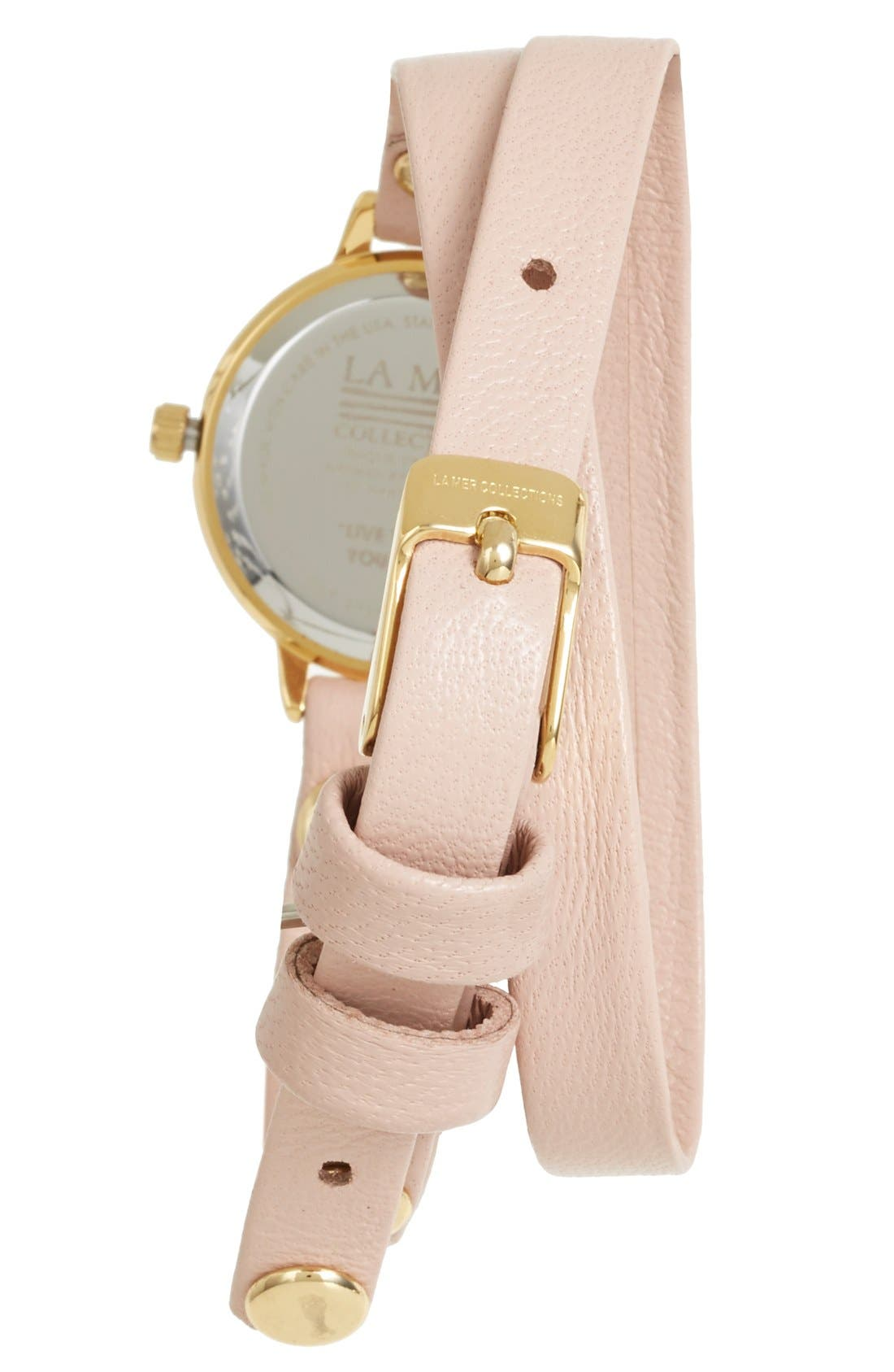 Alternate Image 2  - La Mer Collections 'Del Mar' Leather Strap Wrap Watch, 19mm