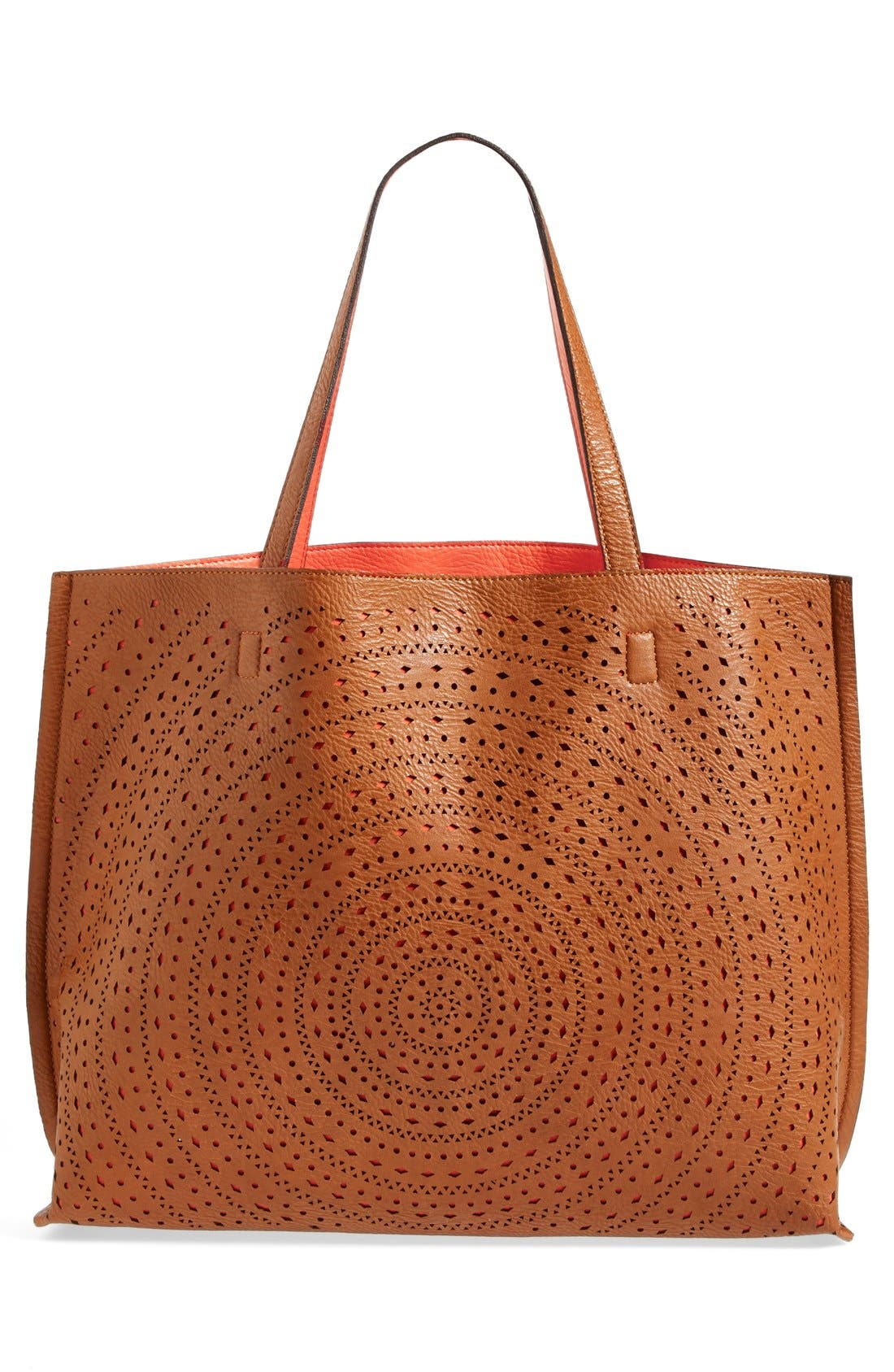 Alternate Image 5  - Street Level Laser Cut Reversible Faux Leather Tote