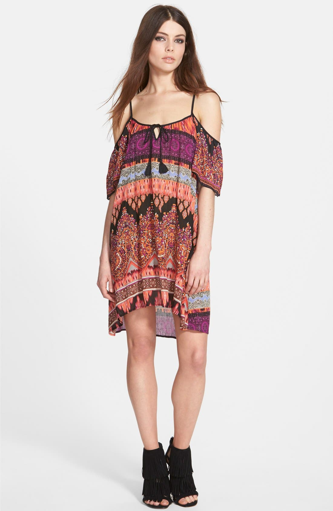 Alternate Image 1  - Band of Gypsies Cold Shoulder Mosaic Dress