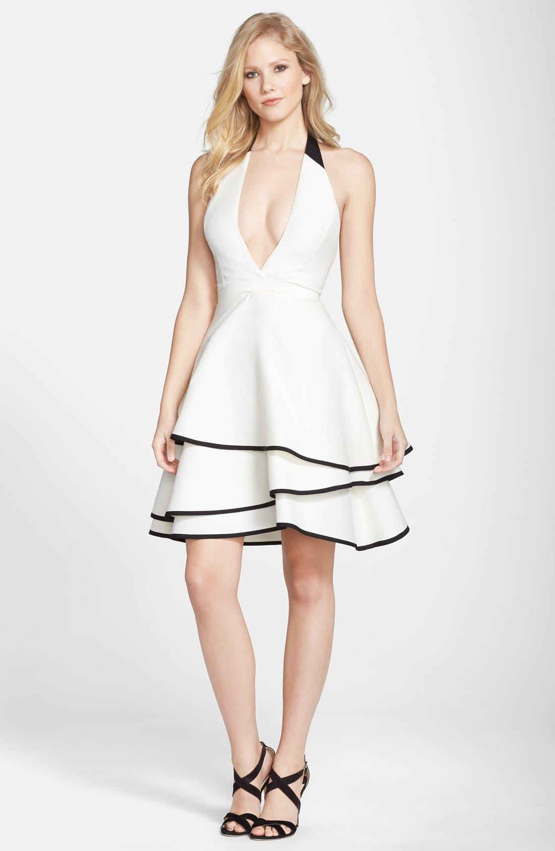 Alternate Image 3  - Halston Heritage Cotton & Silk Halter Dress