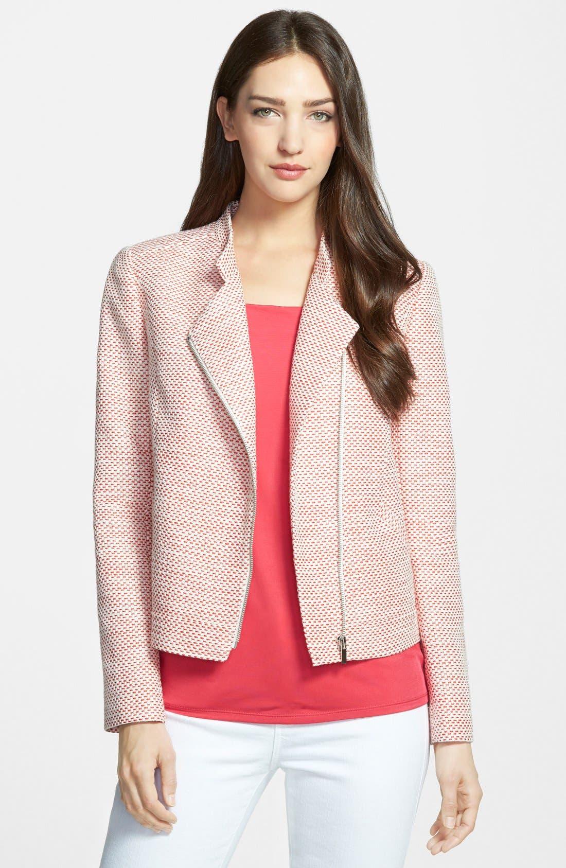 Alternate Image 1 Selected - Classiques Entier® Tweed Front Zip Jacket (Regular & Petite)