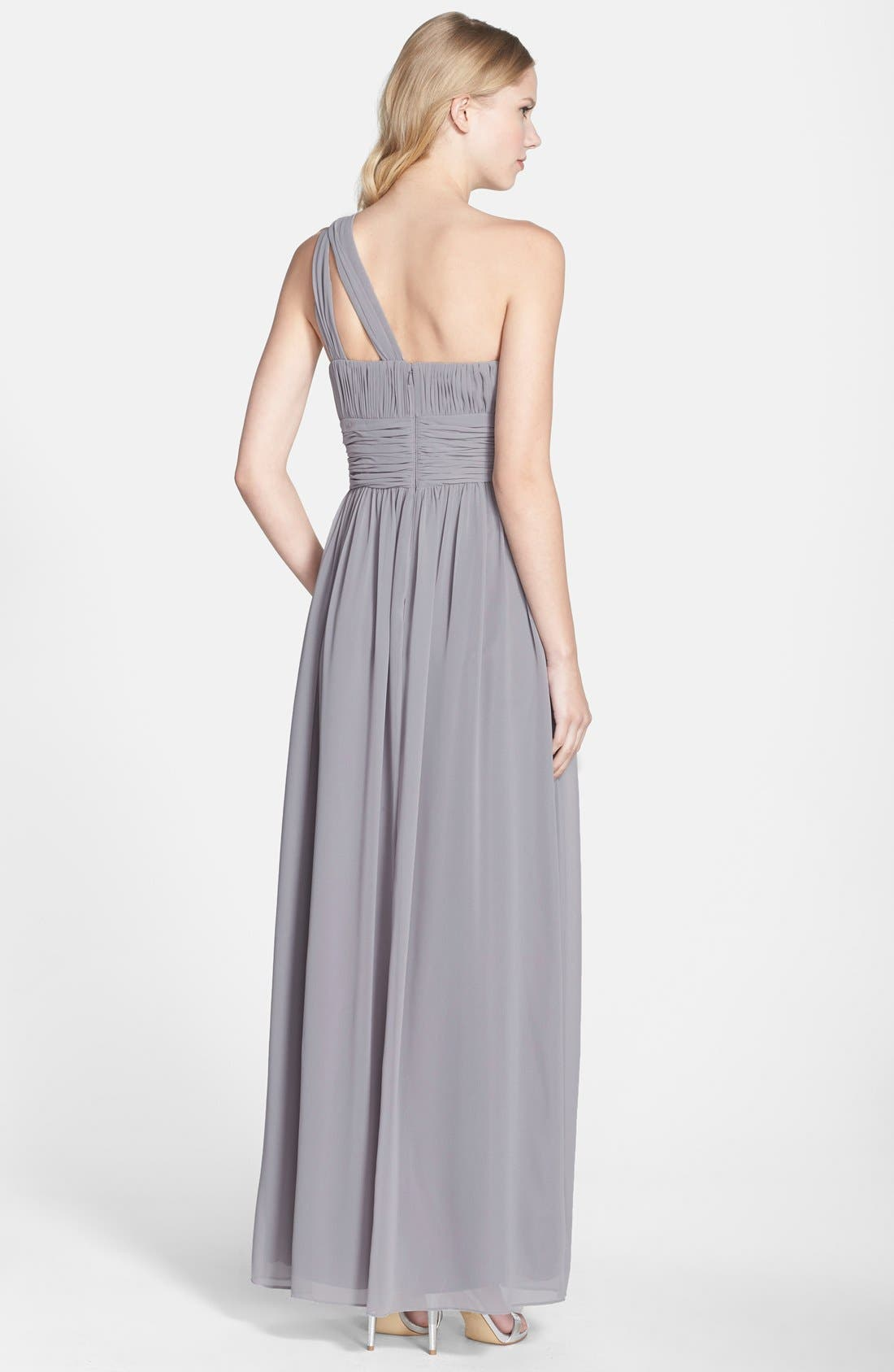 Alternate Image 2  - Donna Morgan 'Rachel' Ruched One-Shoulder Chiffon Gown