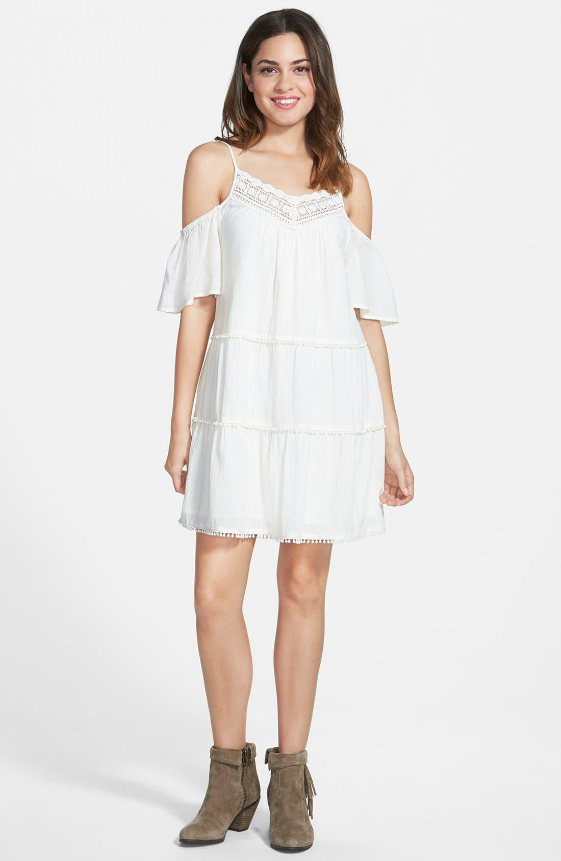 Main Image - Sun & Shadow Cold Shoulder Dress (Juniors)