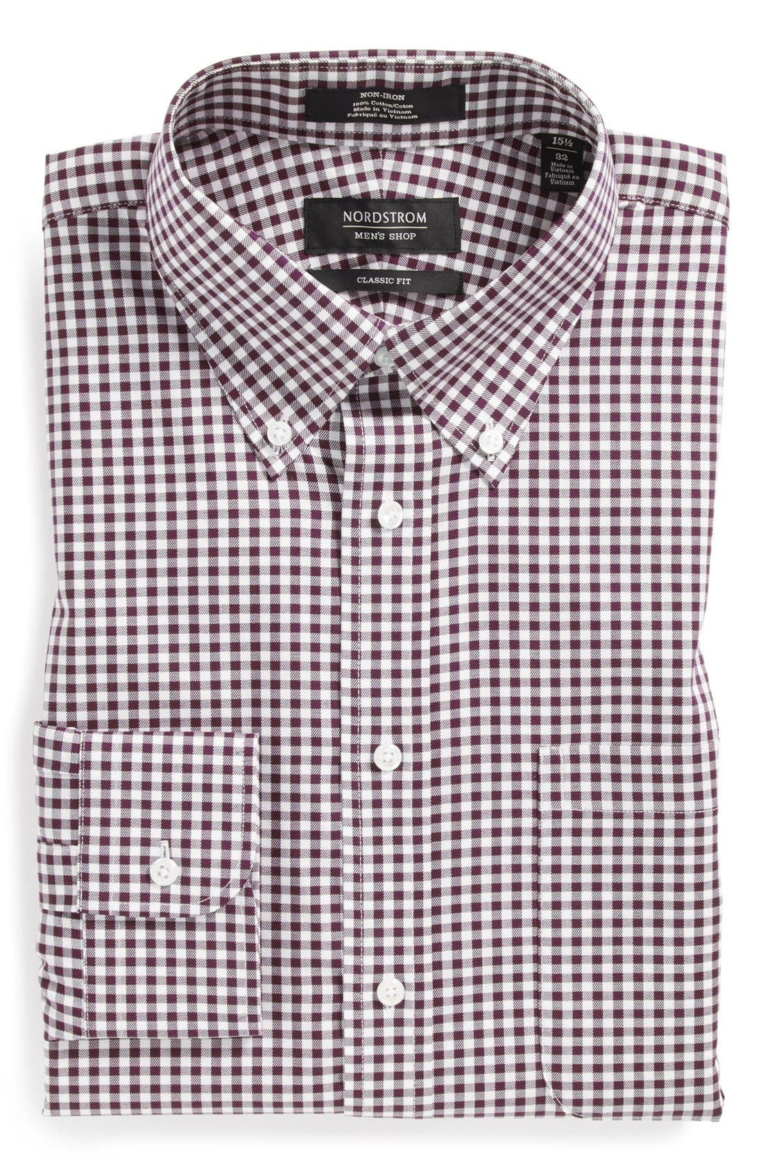 NORDSTROM MEN'S SHOP Classic Fit Non-Iron Gingham Dress
