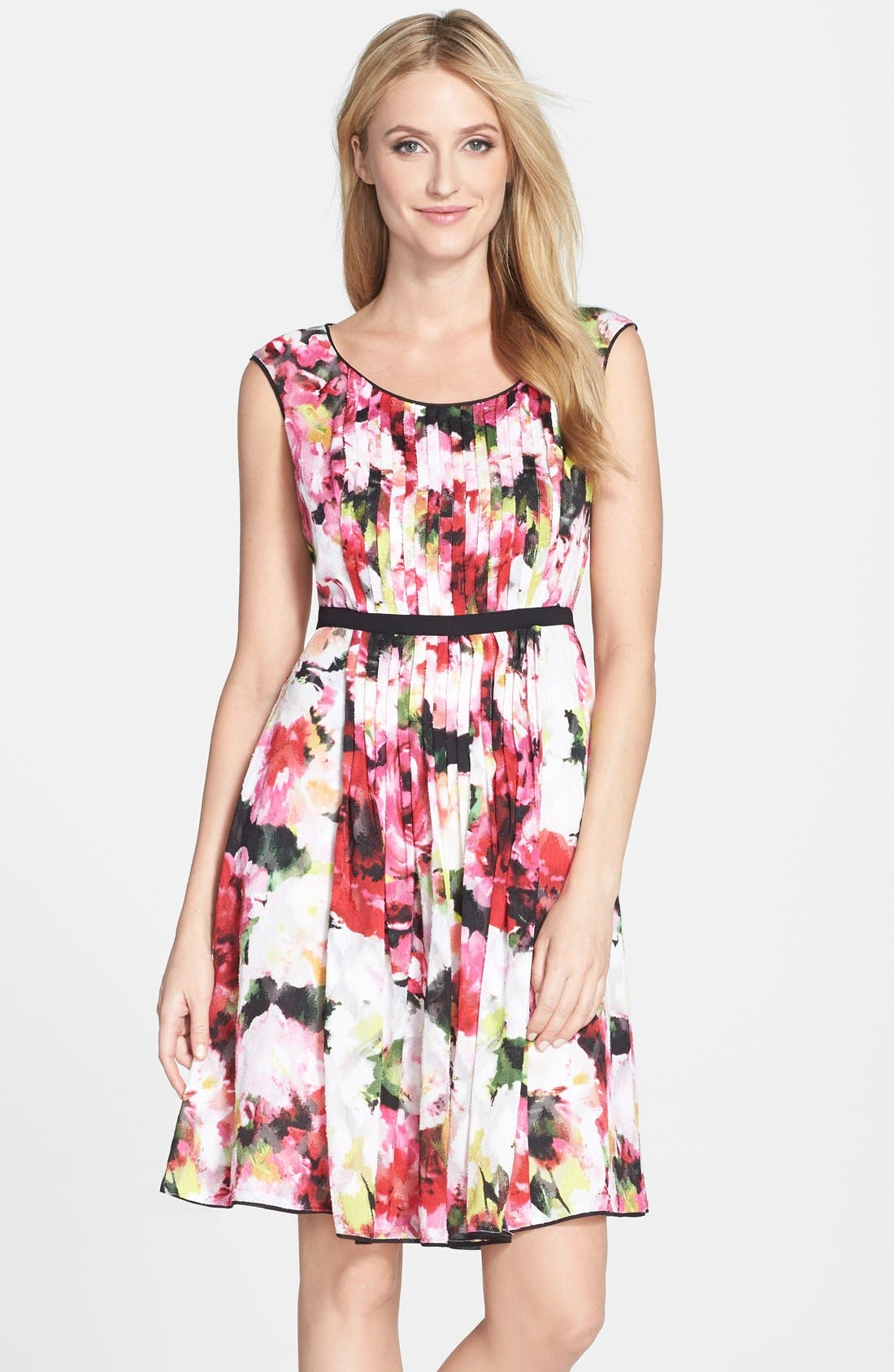 Main Image - Adrianna Papell Floral Print Pleated Fit & Flare Dress
