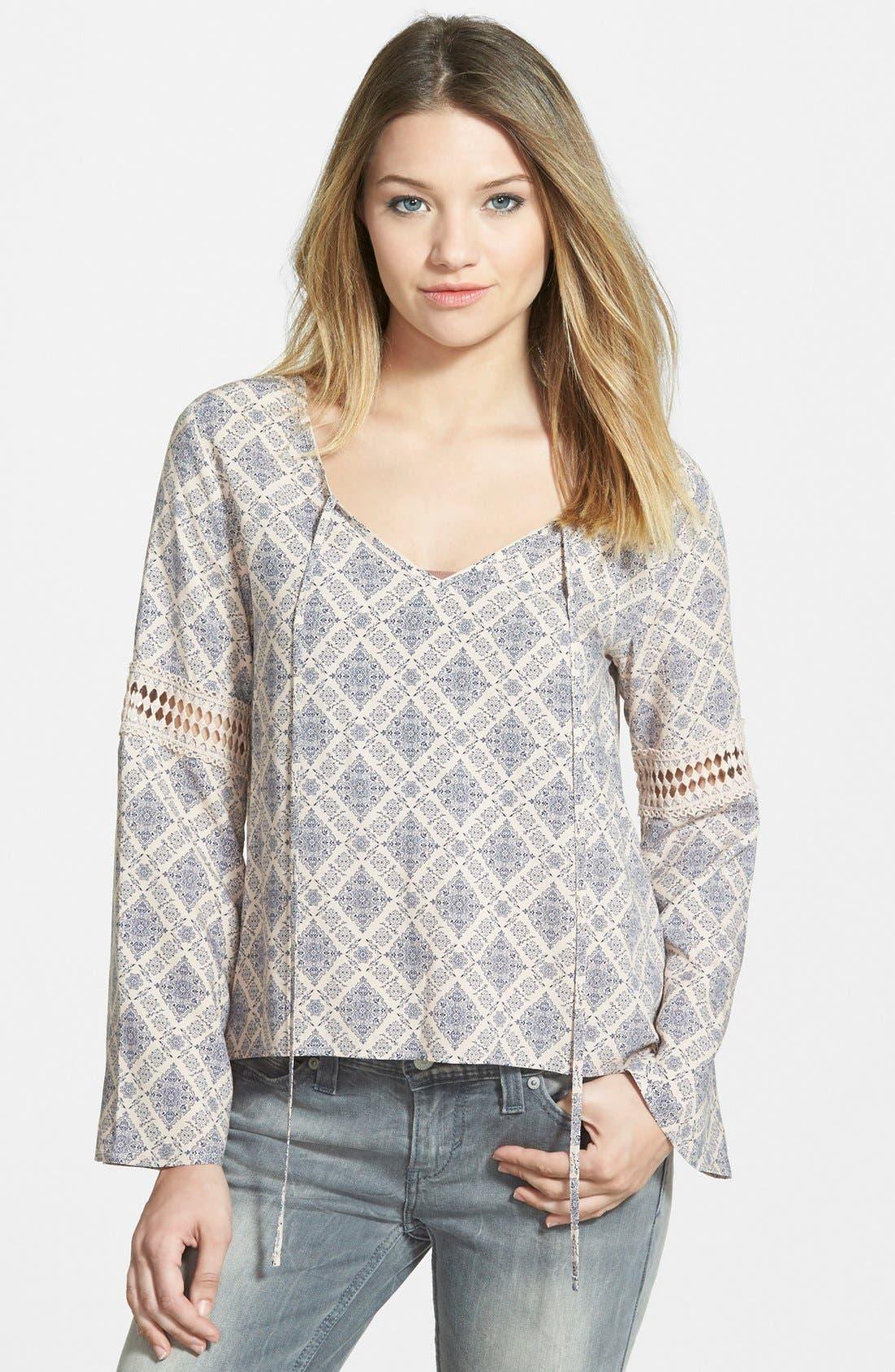 Main Image - Elodie Crochet Inset Peasant Top (Juniors)