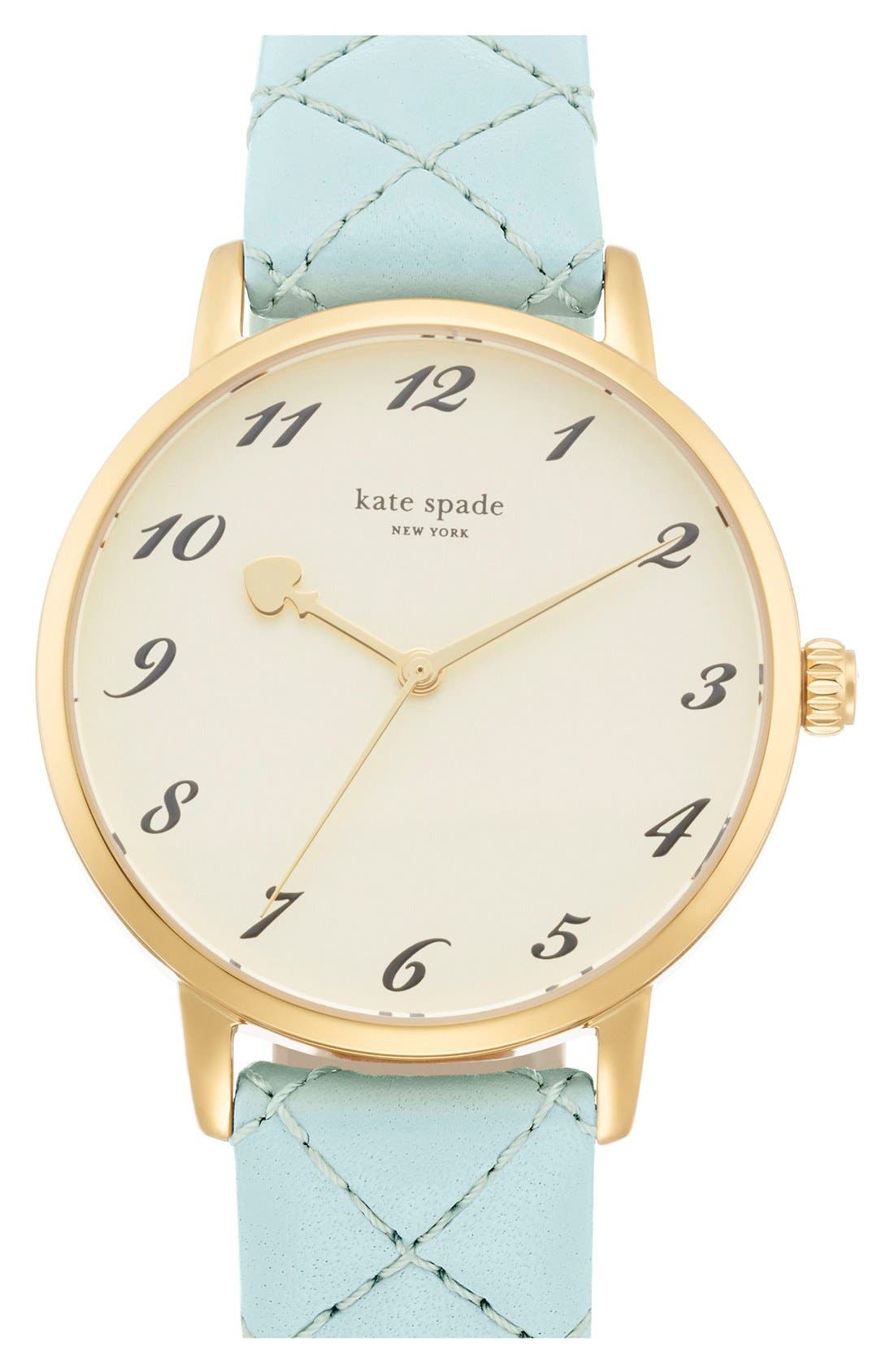 Main Image - kate spade new york 'metro' quilted leather strap watch, 34mm