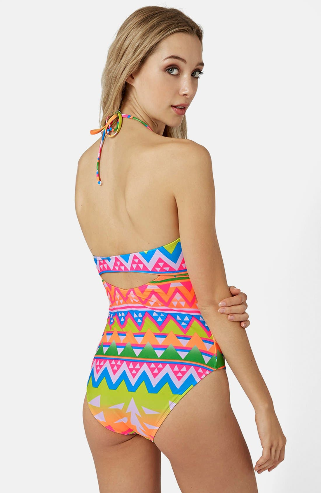 Alternate Image 2  - Topshop Cutout Geo Print Swimsuit