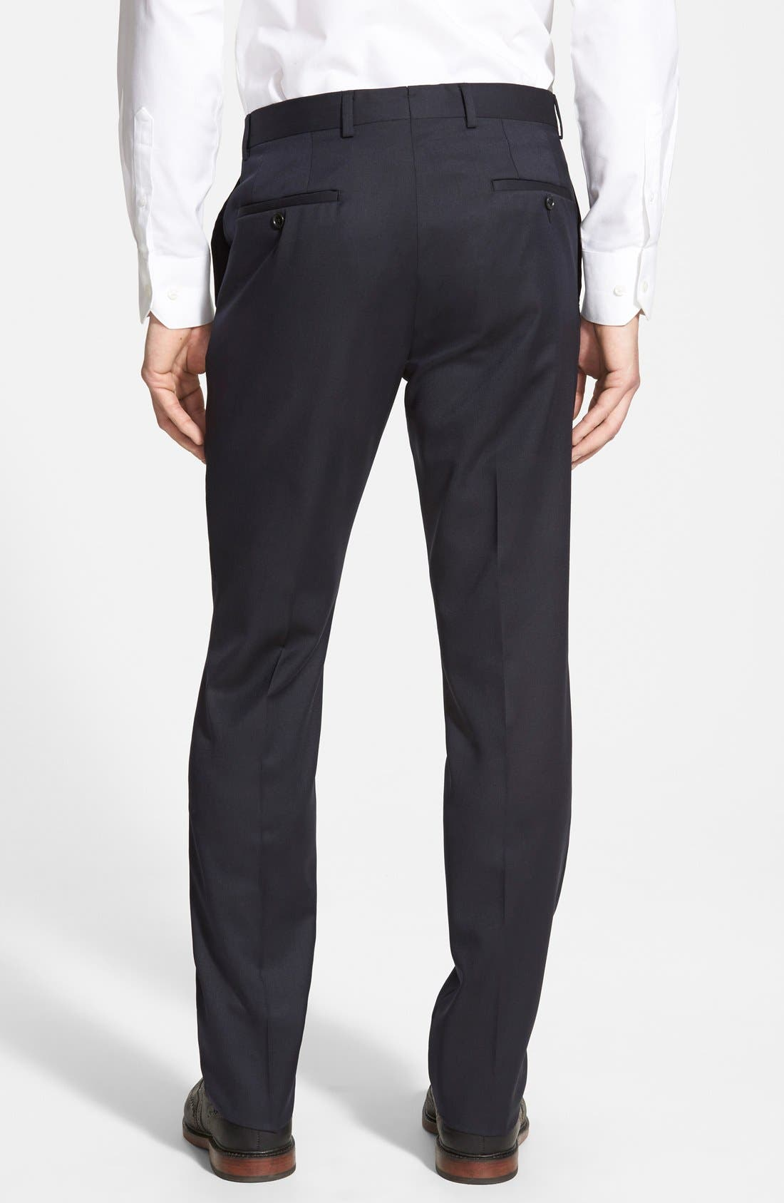 Alternate Image 2  - Nordstrom Men's Shop Flat Front Wool Trousers
