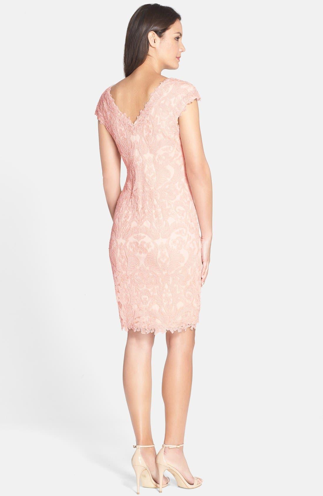 Alternate Image 2  - Tadashi Shoji Corded Lace Tulle Sheath Dress (Regular & Petite)