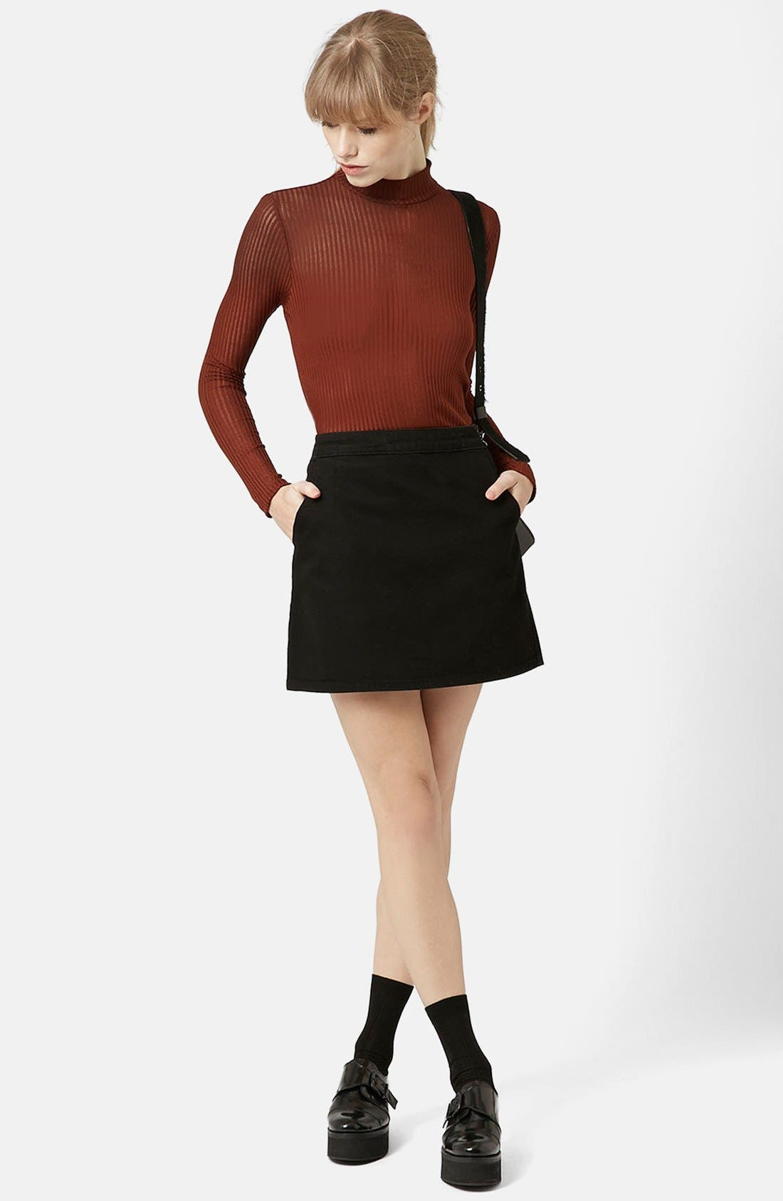 Alternate Image 4  - Topshop Moto Denim Miniskirt