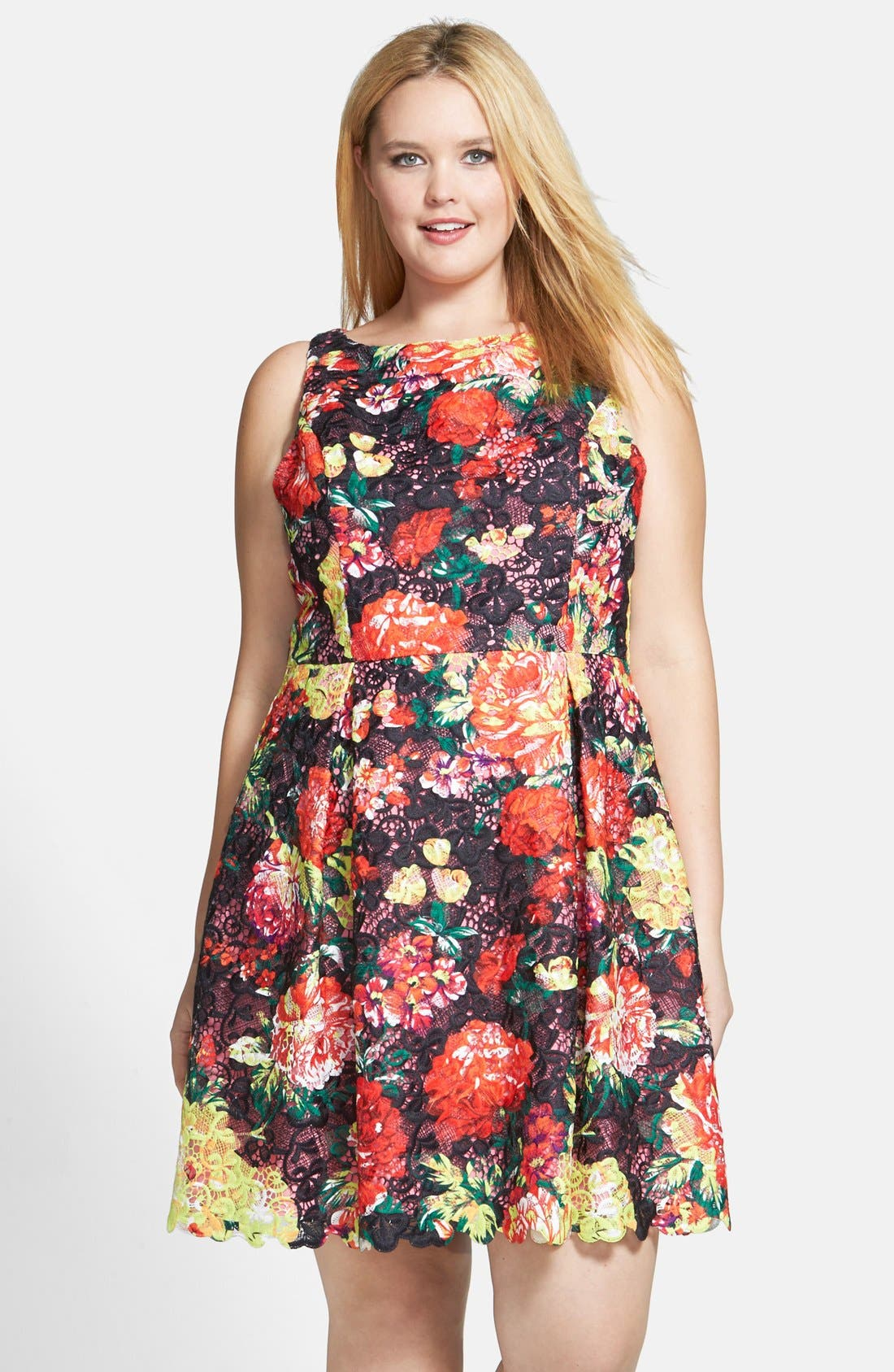Main Image - Adrianna Papell Print Lace Fit & Flare Dress (Plus Size)