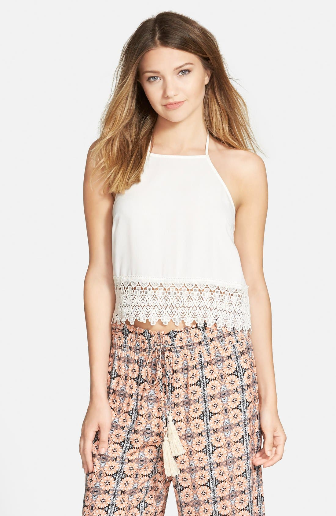Alternate Image 1 Selected - Leith Lace Hem Halter Tank