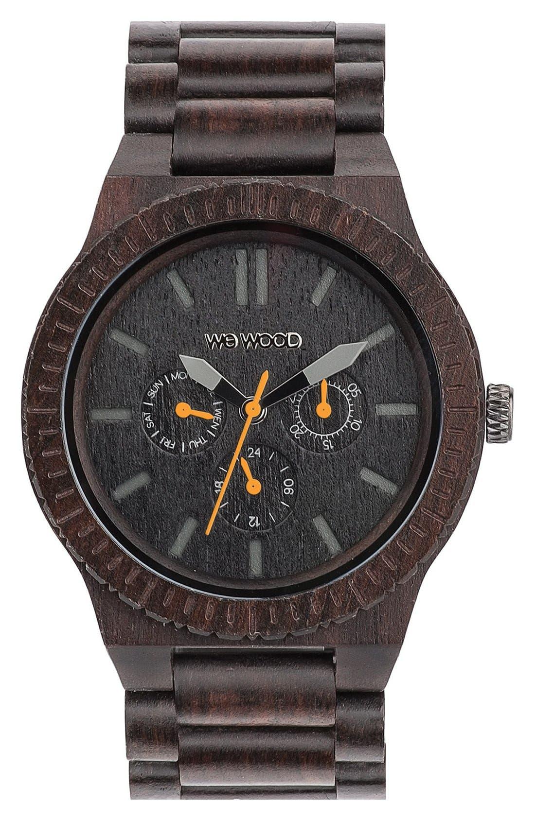 WeWOOD 'Kappa' Multifunction Wood Bracelet Watch, 46mm