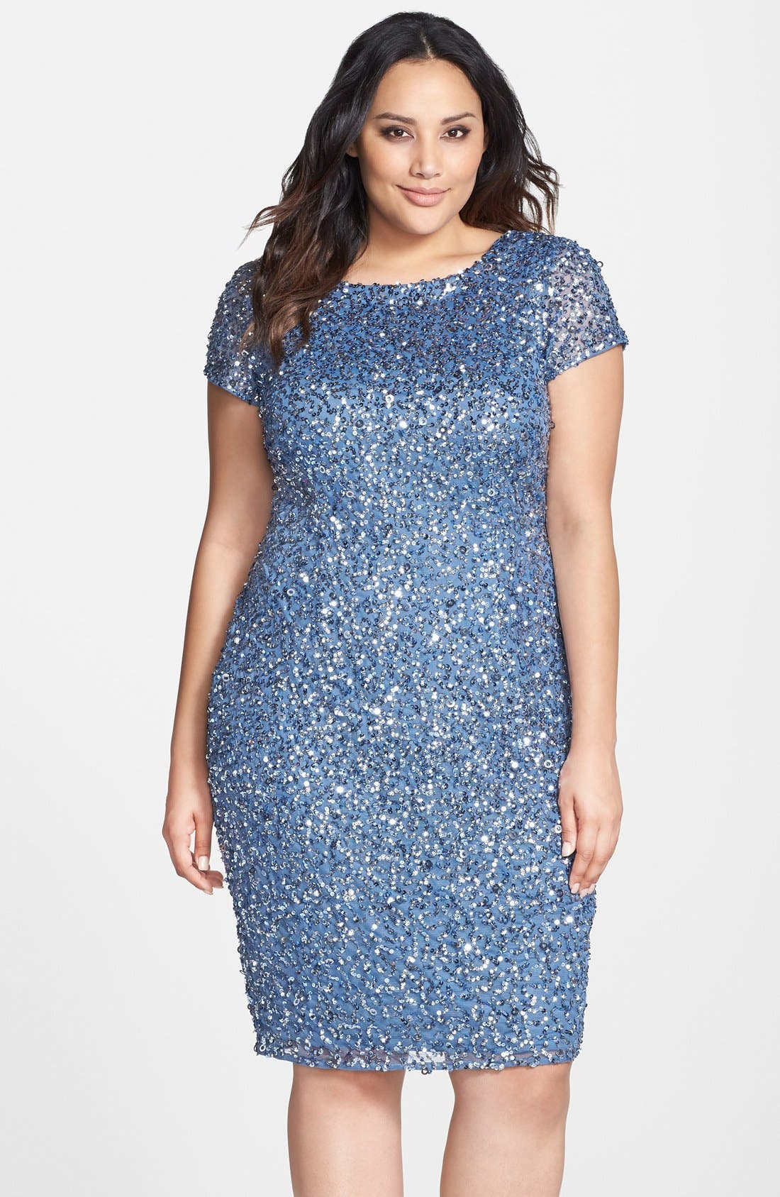 Alternate Image 1 Selected - Adrianna Papell Beaded Cap Sleeve Sheath Dress (Plus Size)