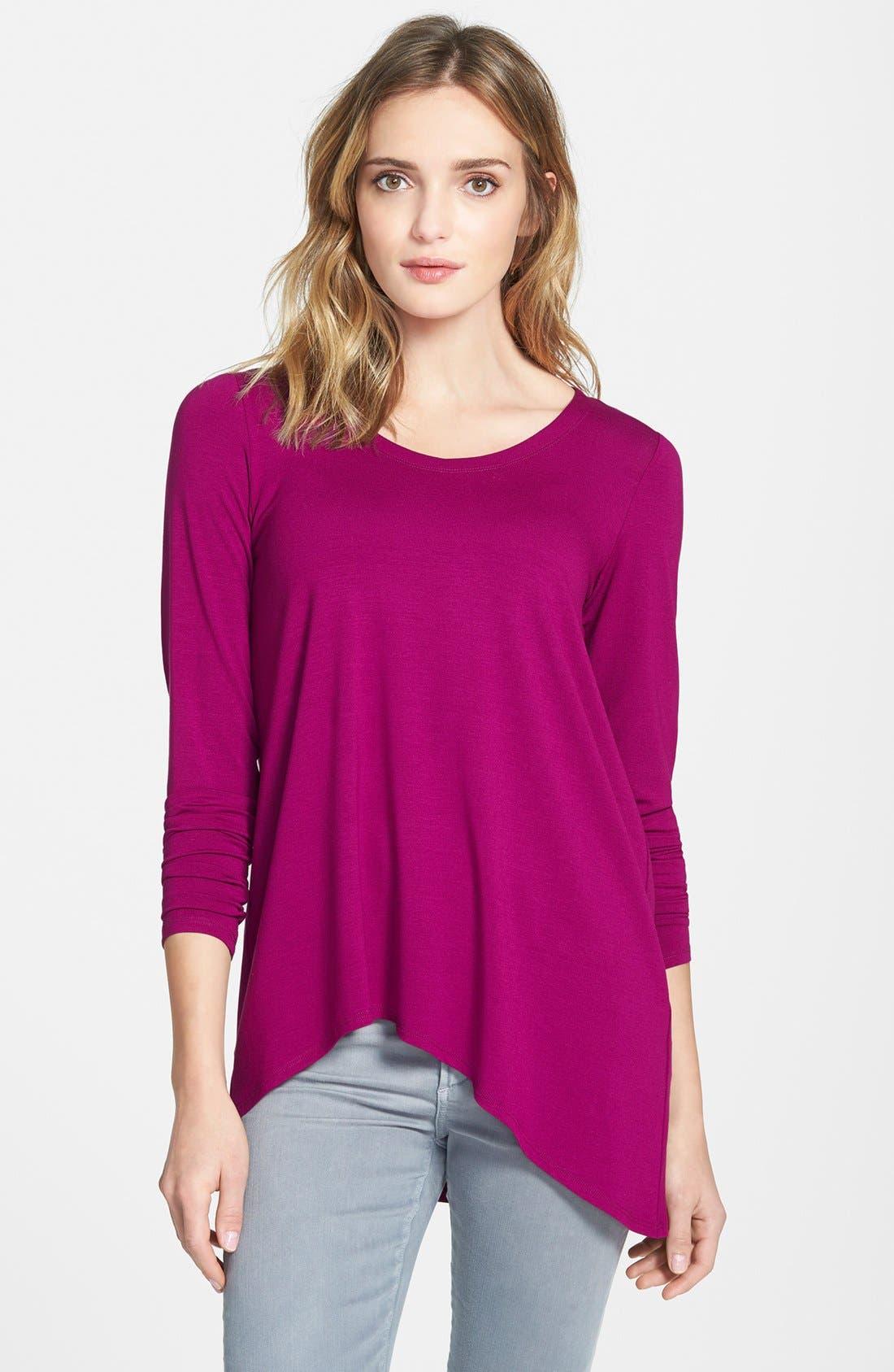 Alternate Image 1 Selected - Eileen Fisher V-Neck Stretch Knit Top (Regular & Petite)