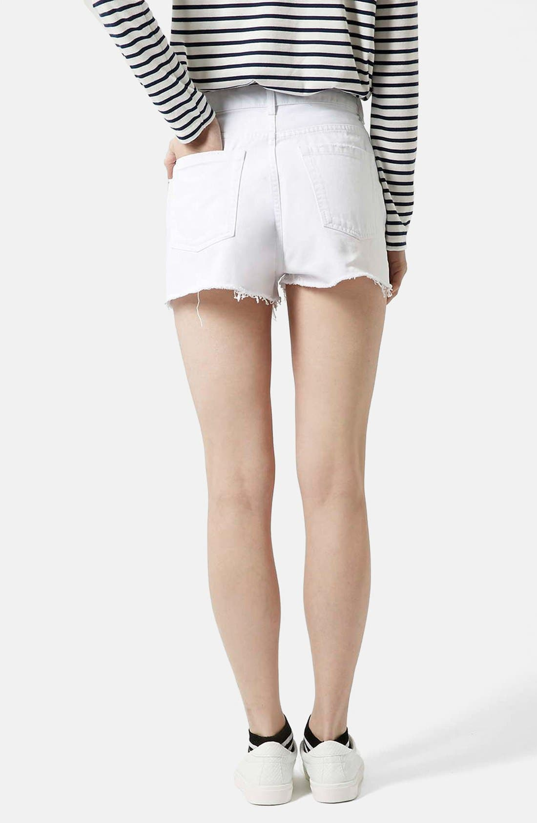 Alternate Image 2  - Topshop Moto White Denim Shorts