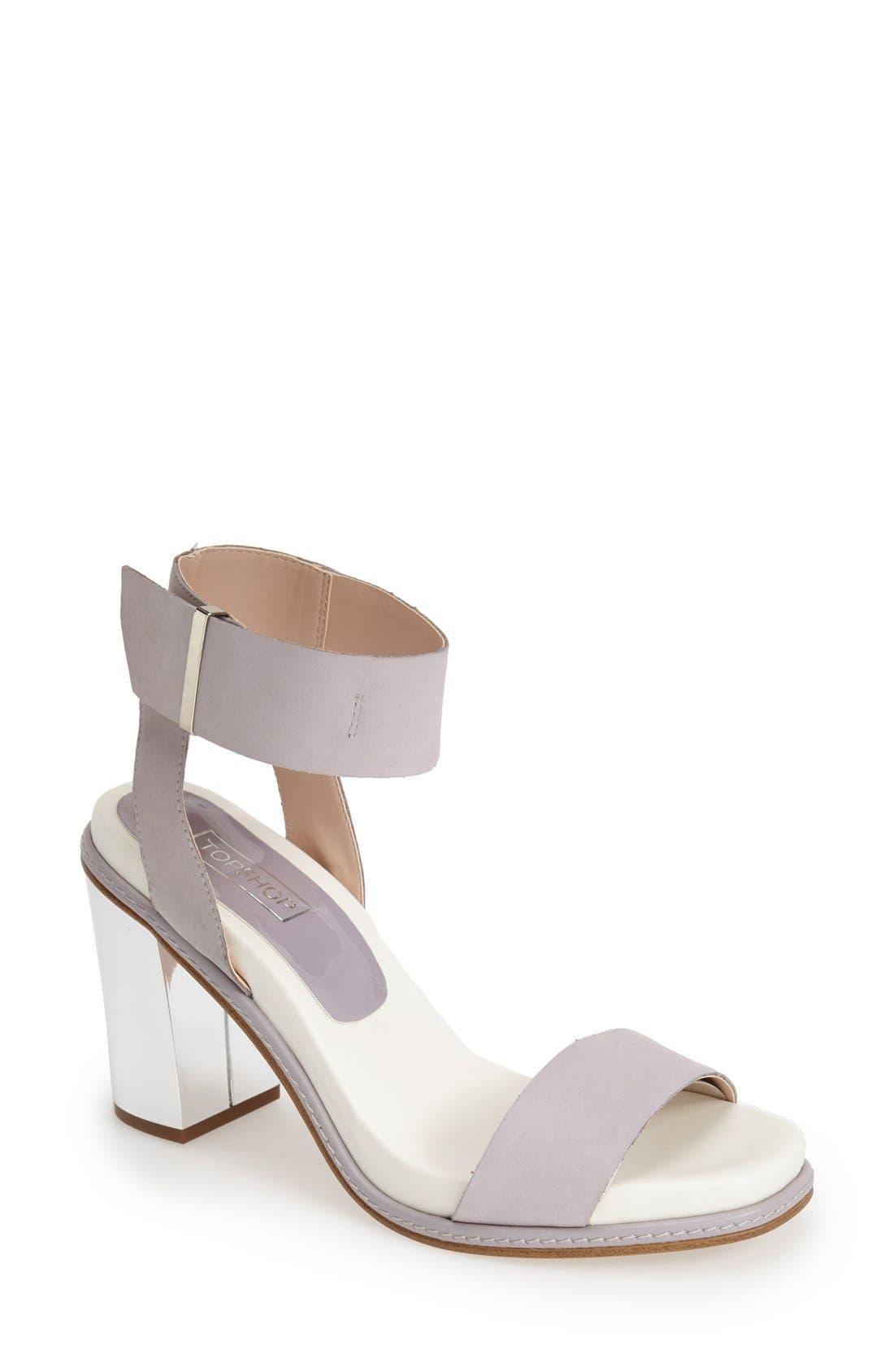 Alternate Image 1 Selected - Topshop 'Reflect' Metallic Heel Leather Sandal (Women)