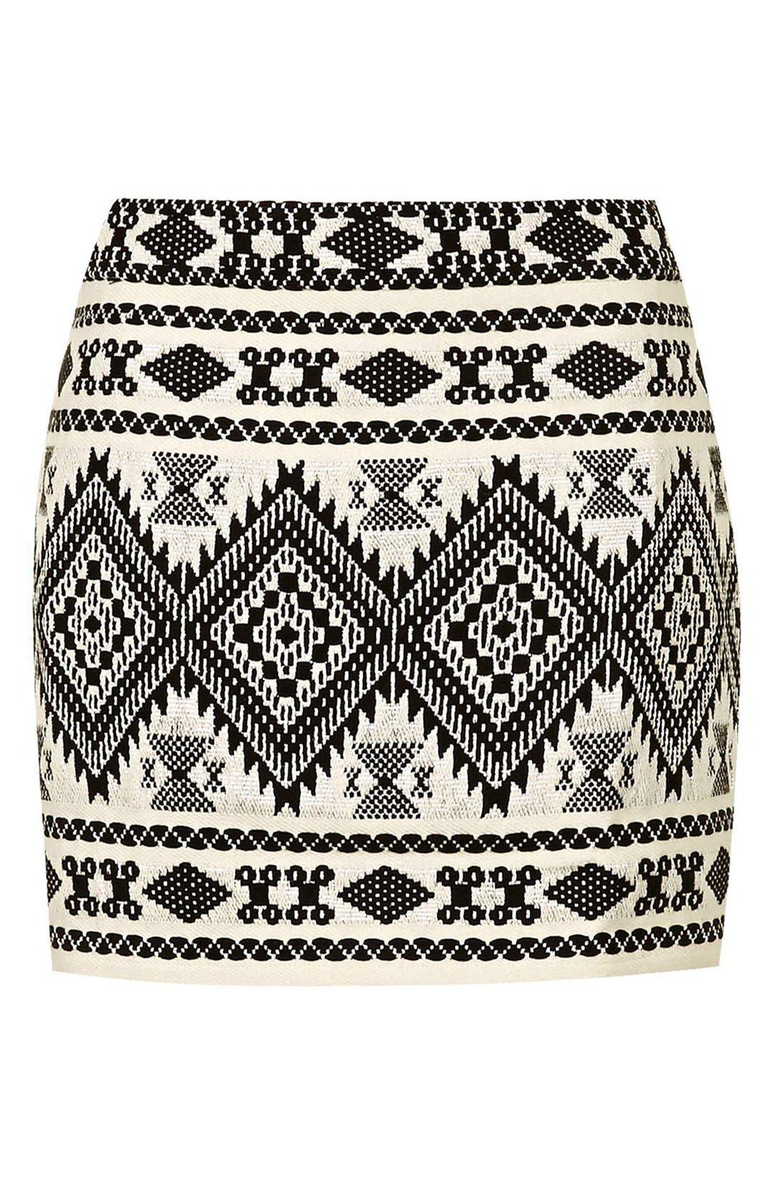 Alternate Image 3  - Topshop Blanket A-Line Miniskirt (Petite)