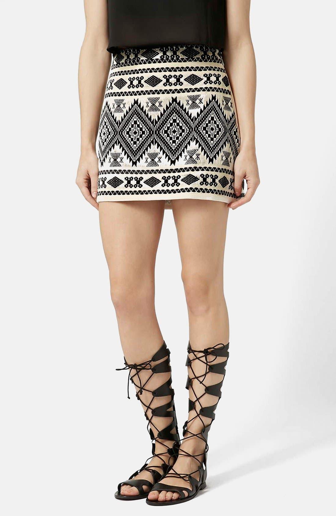 Main Image - Topshop Blanket A-Line Miniskirt (Petite)