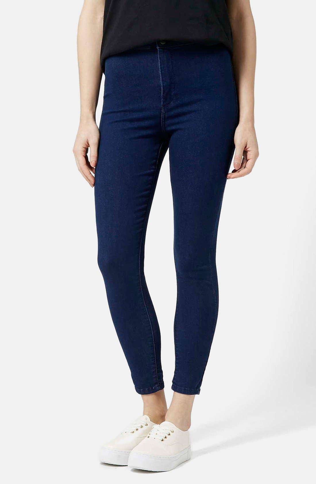 Main Image - Topshop Moto 'Joni' Ankle Skinny Jeans (Bright Blue) (Petite)