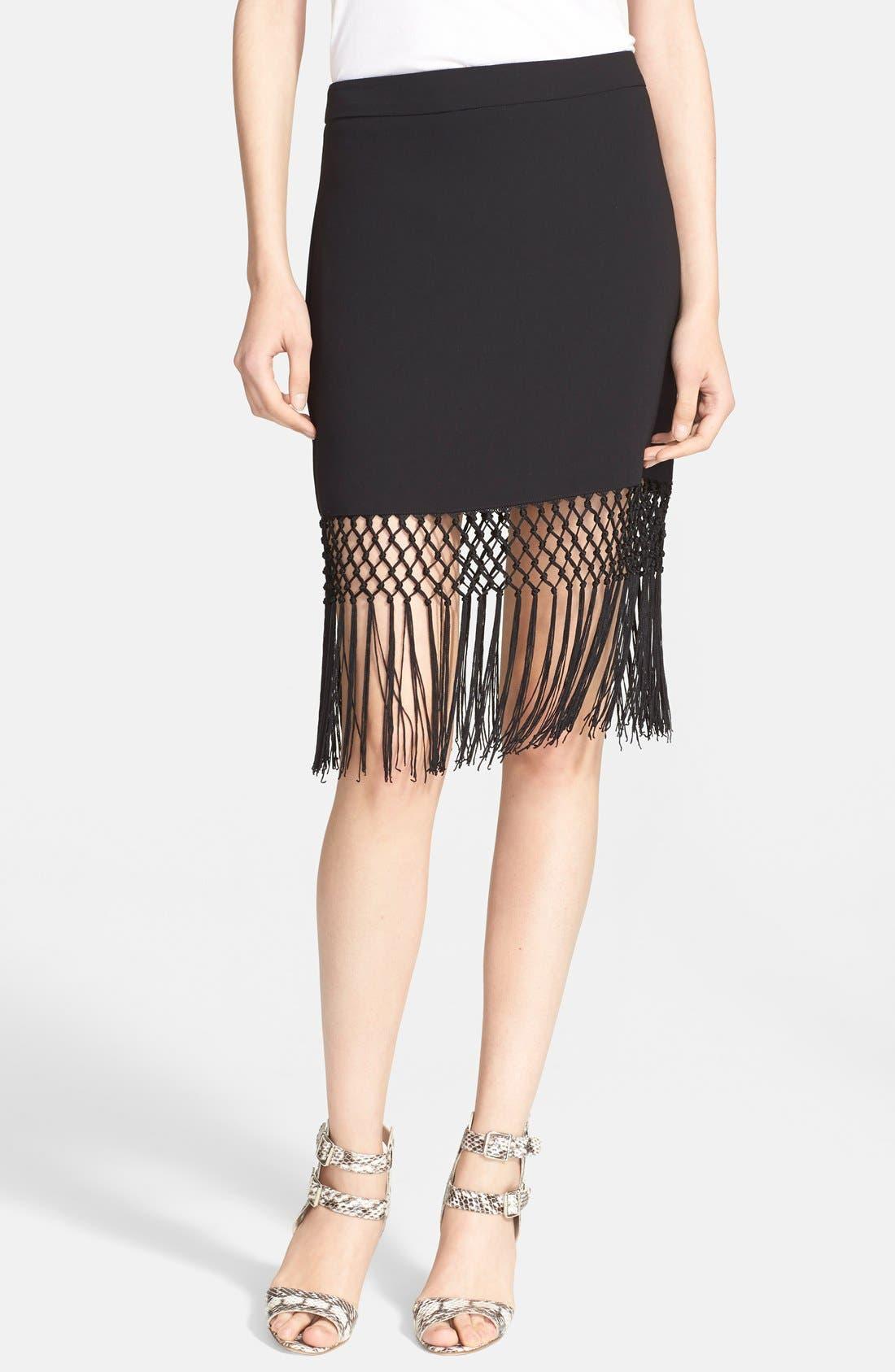 Alternate Image 1 Selected - Trina Turk 'Luciana' Crochet Fringe Pencil Skirt