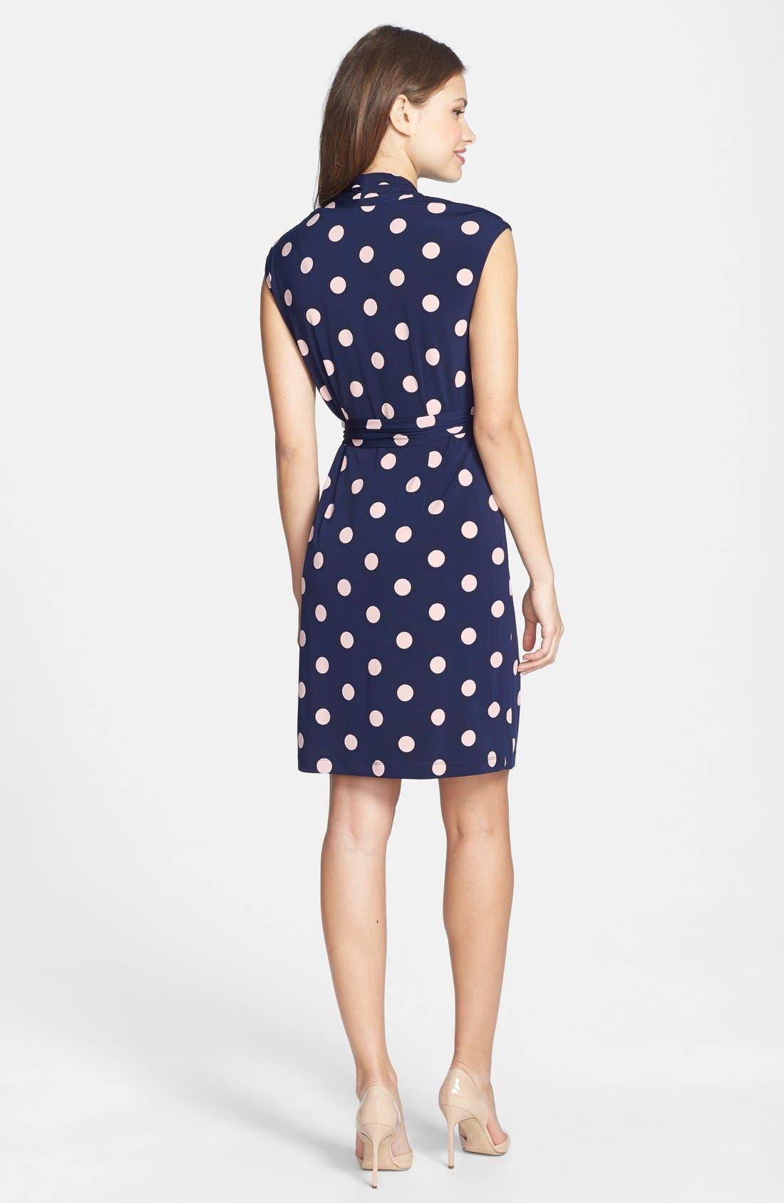 Alternate Image 2  - Eliza J Polka Dot Jersey Faux Wrap Dress (Regular & Petite)