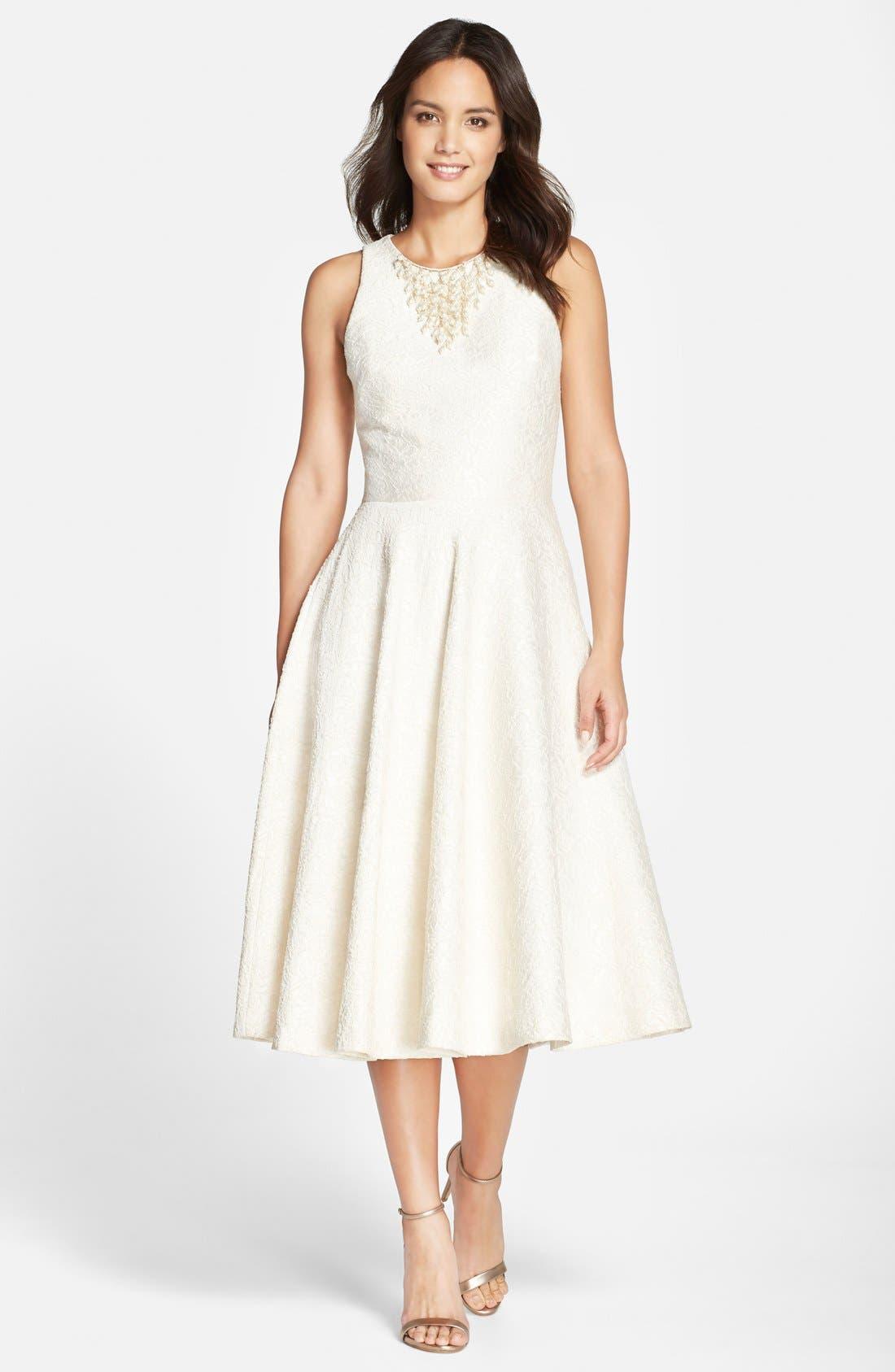 Main Image - Vera Wang Embellished Jacquard Midi Dress