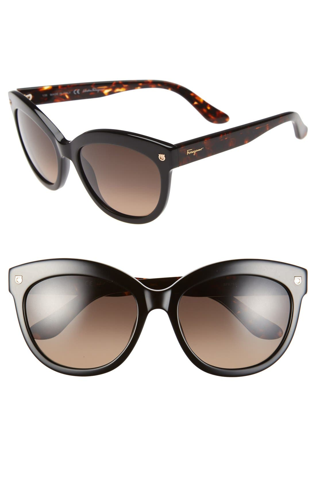 Alternate Image 1 Selected - Salvatore Ferragamo 'Gancino' 55mm Cat Eye Sunglasses