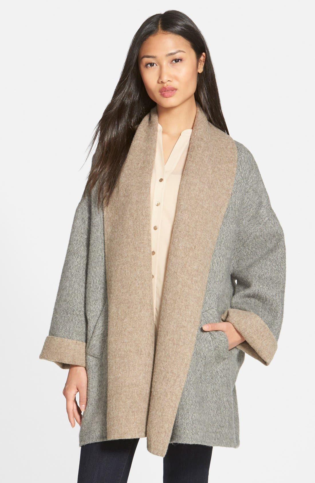 Alternate Image 1 Selected - Eileen Fisher Shawl Collar Alpaca Blend Kimono Coat (Regular & Petite)