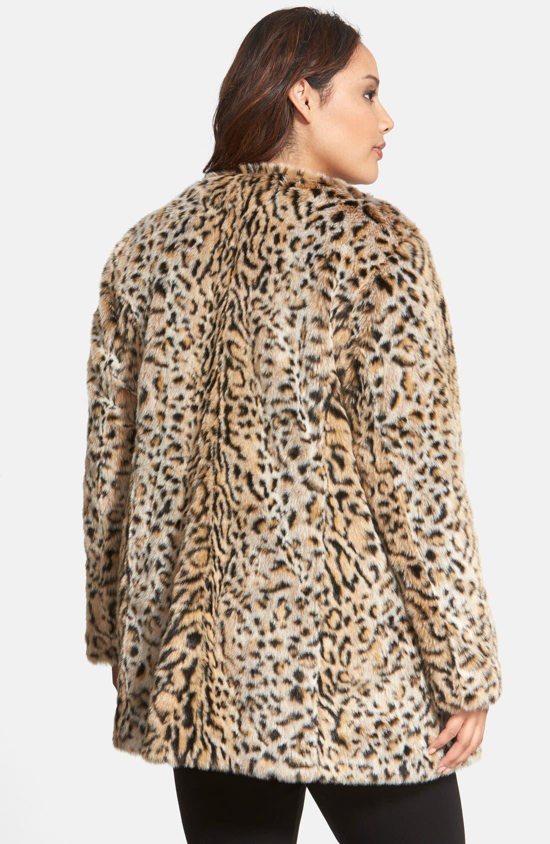 Alternate Image 2  - Steve Madden Faux Fur Leopard Print Coat (Plus Size)
