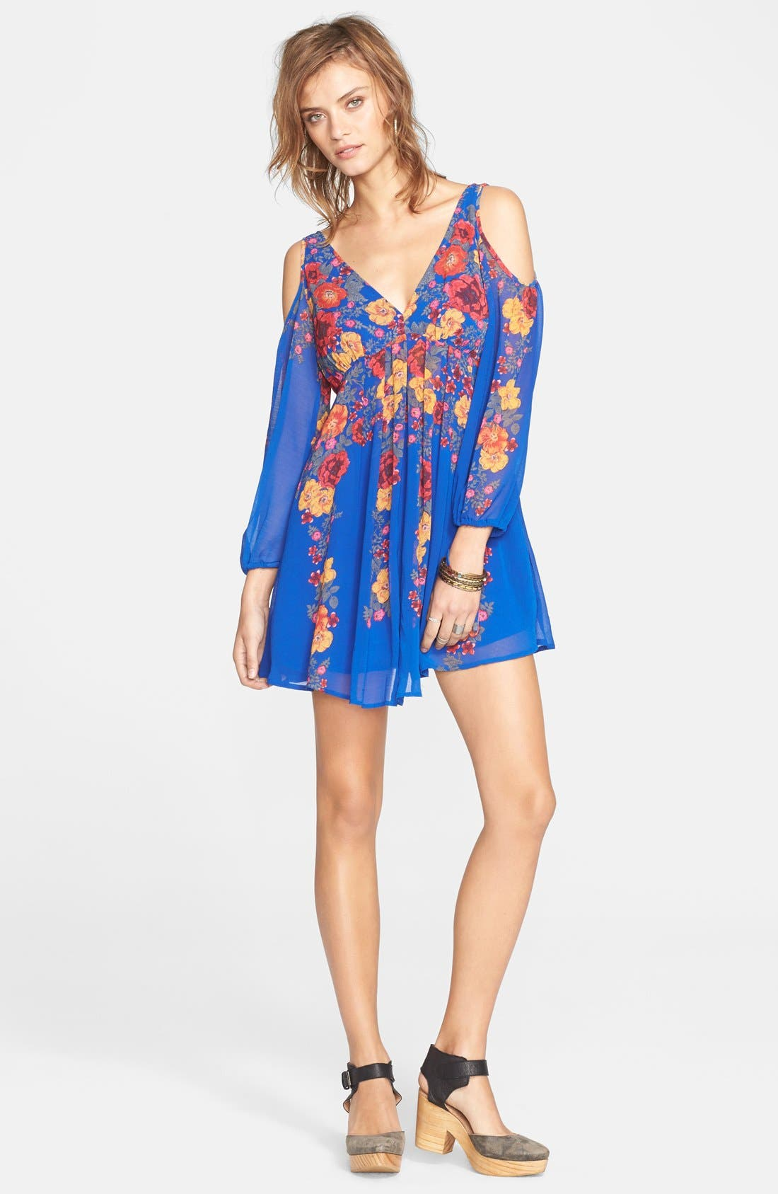 Main Image - Free People 'Penny Lover' Chiffon Cold Shoulder Mini Dress