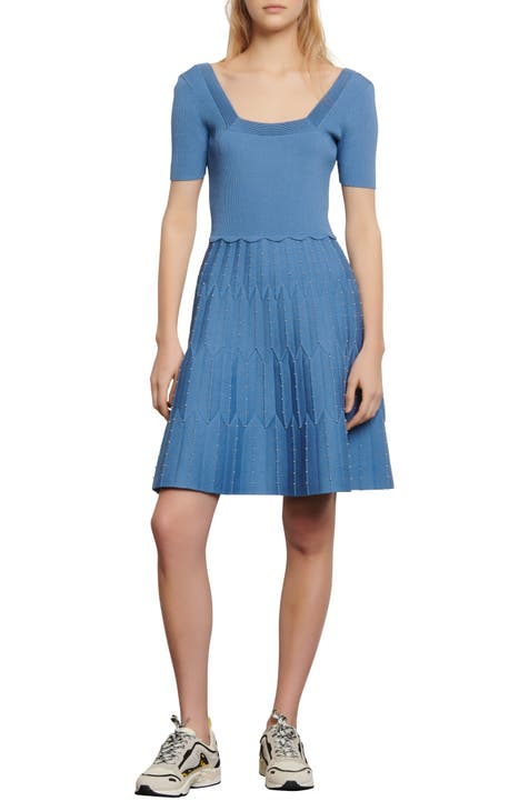산드로 원피스 Sandro Flyn Bead Detail Fit & Flare Knit Dress,sky blue