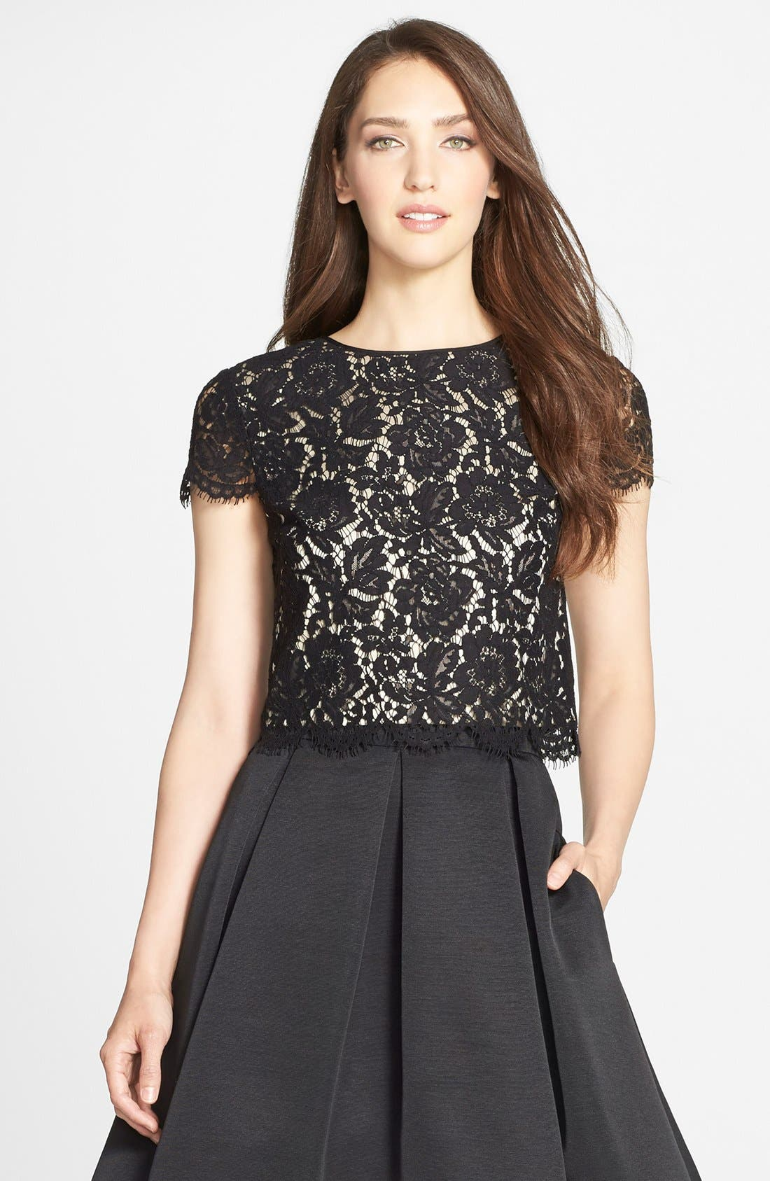 Alternate Image 1 Selected - Eliza J Lace Cap Sleeve Top