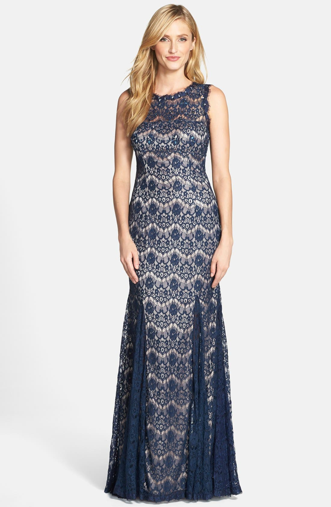 Alternate Image 1 Selected - Betsy & Adam Lace Mermaid Gown