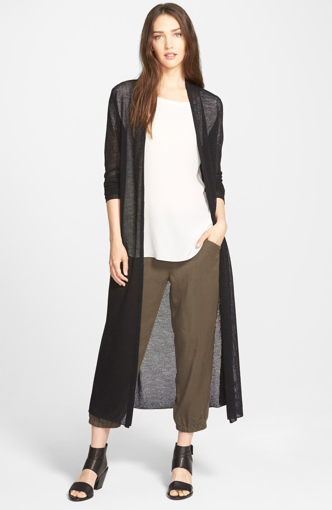 Alternate Image 1 Selected - Eileen Fisher Wool Mesh Long Cardigan