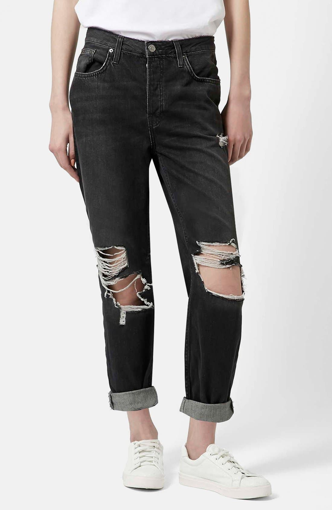 Main Image - Topshop Moto 'Hayden' Ripped Boyfriend Jeans (Black)