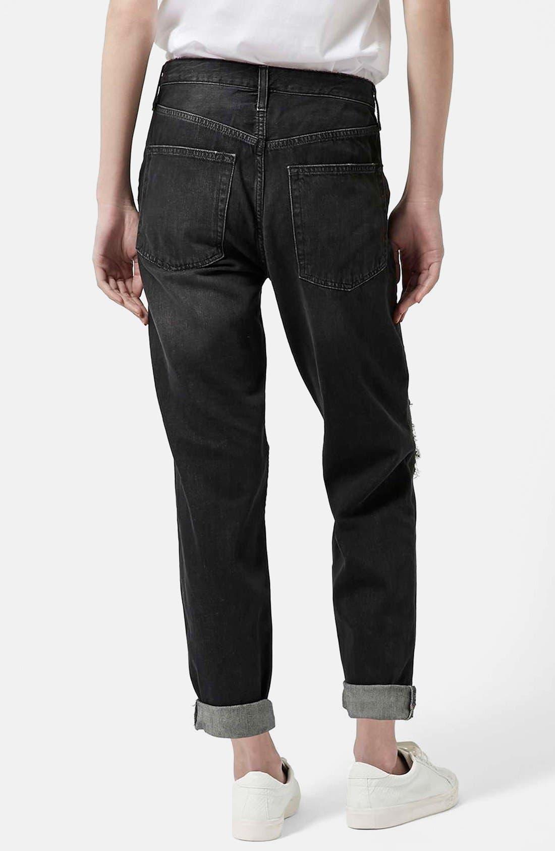 Alternate Image 2  - Topshop Moto 'Hayden' Ripped Boyfriend Jeans (Black)