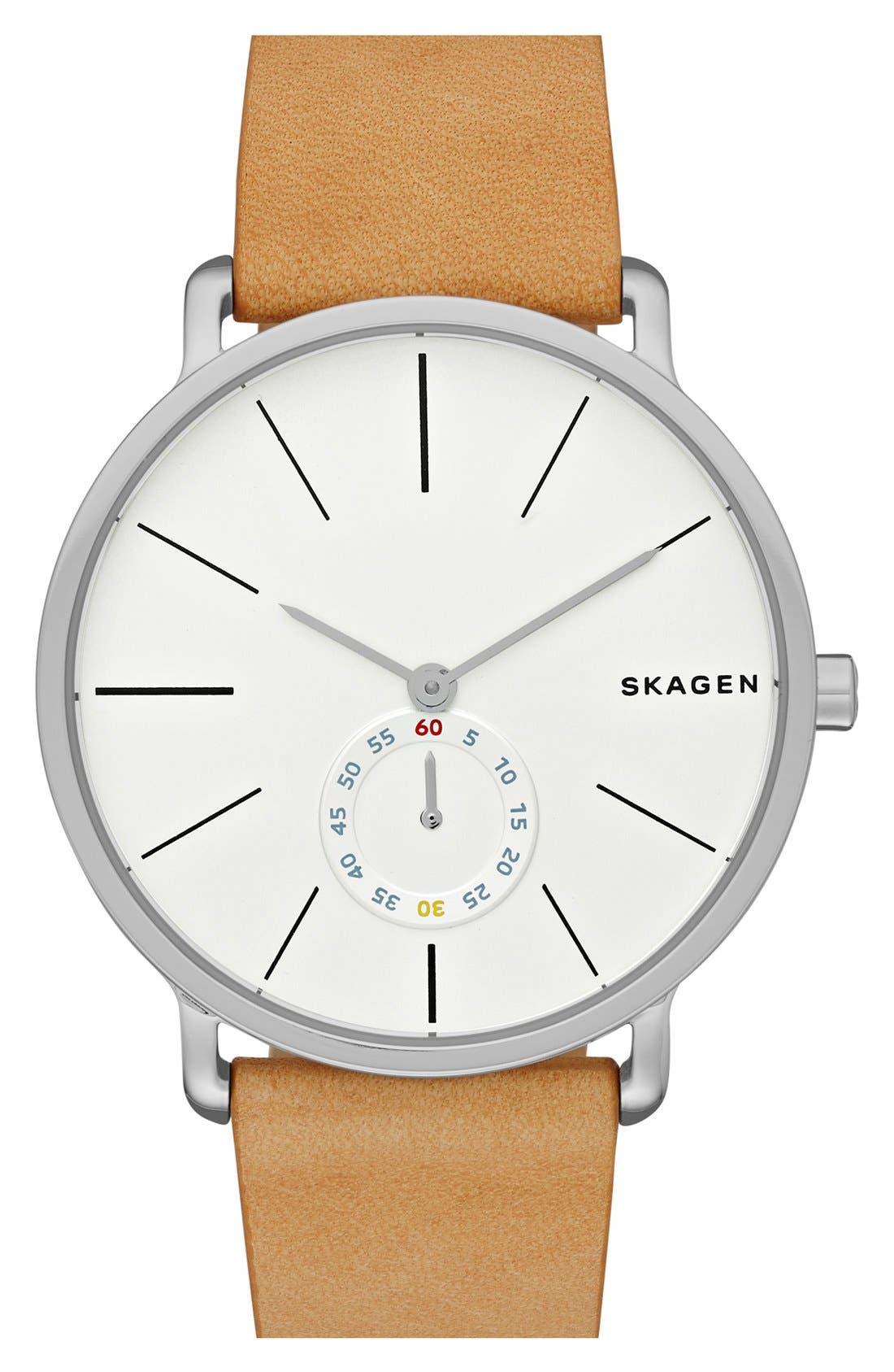 Alternate Image 1 Selected - Skagen Hagen Leather Strap Watch, 40mm