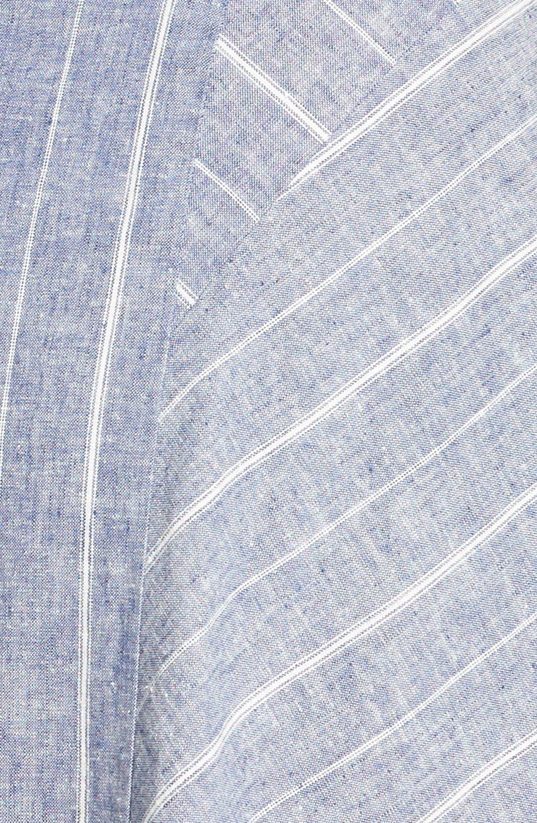 Alternate Image 3  - Adrianna Papell Stripe Double V-Neckline Linen Blend Fit & Flare Dress