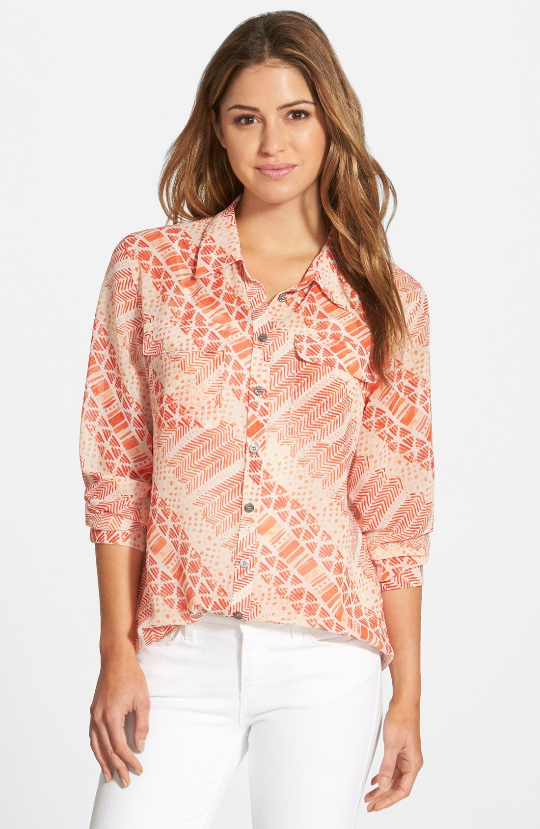 Main Image - Two by Vince Camuto Print Utility Shirt (Regular & Petite)
