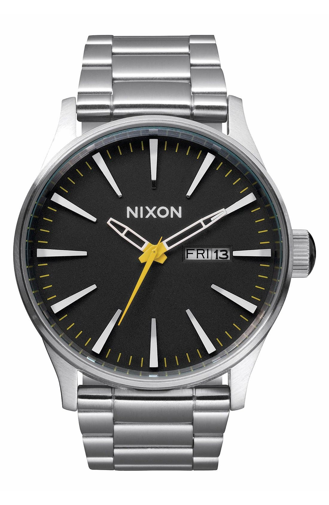 Alternate Image 1 Selected - Nixon 'The Sentry' Black Dial Bracelet Watch, 42mm