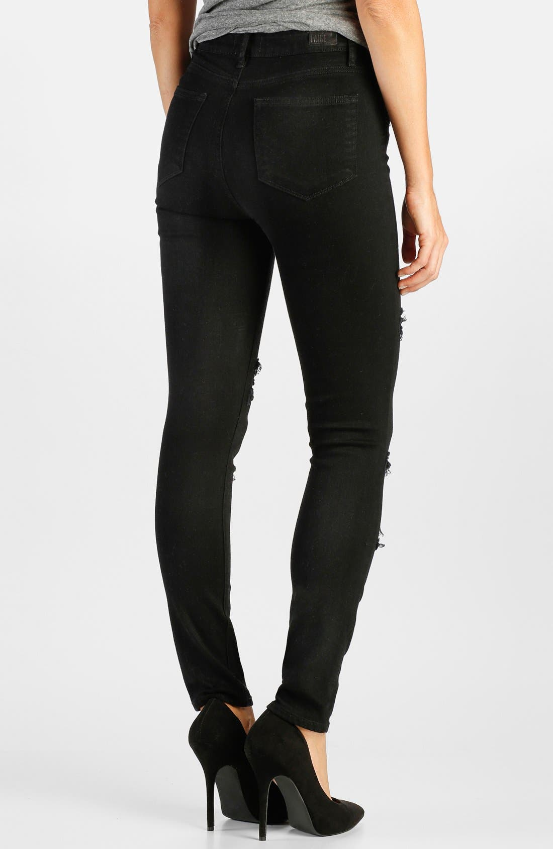 Alternate Image 2  - Paige Denim 'Margot' High Rise Skinny Jeans (Black Arlo Destructed)