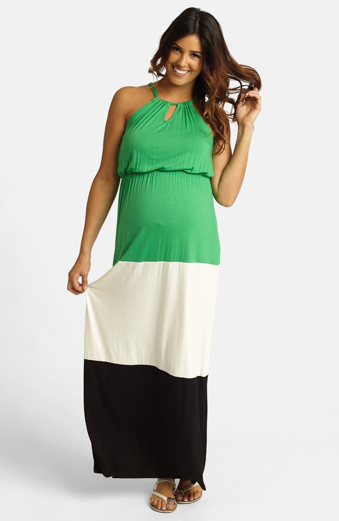 Alternate Image 1 Selected - PinkBlush Colorblock Halter Maternity Maxi Dress
