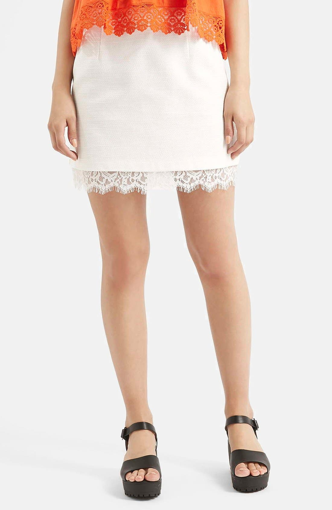 Main Image - Topshop Textured Lace Hem Miniskirt