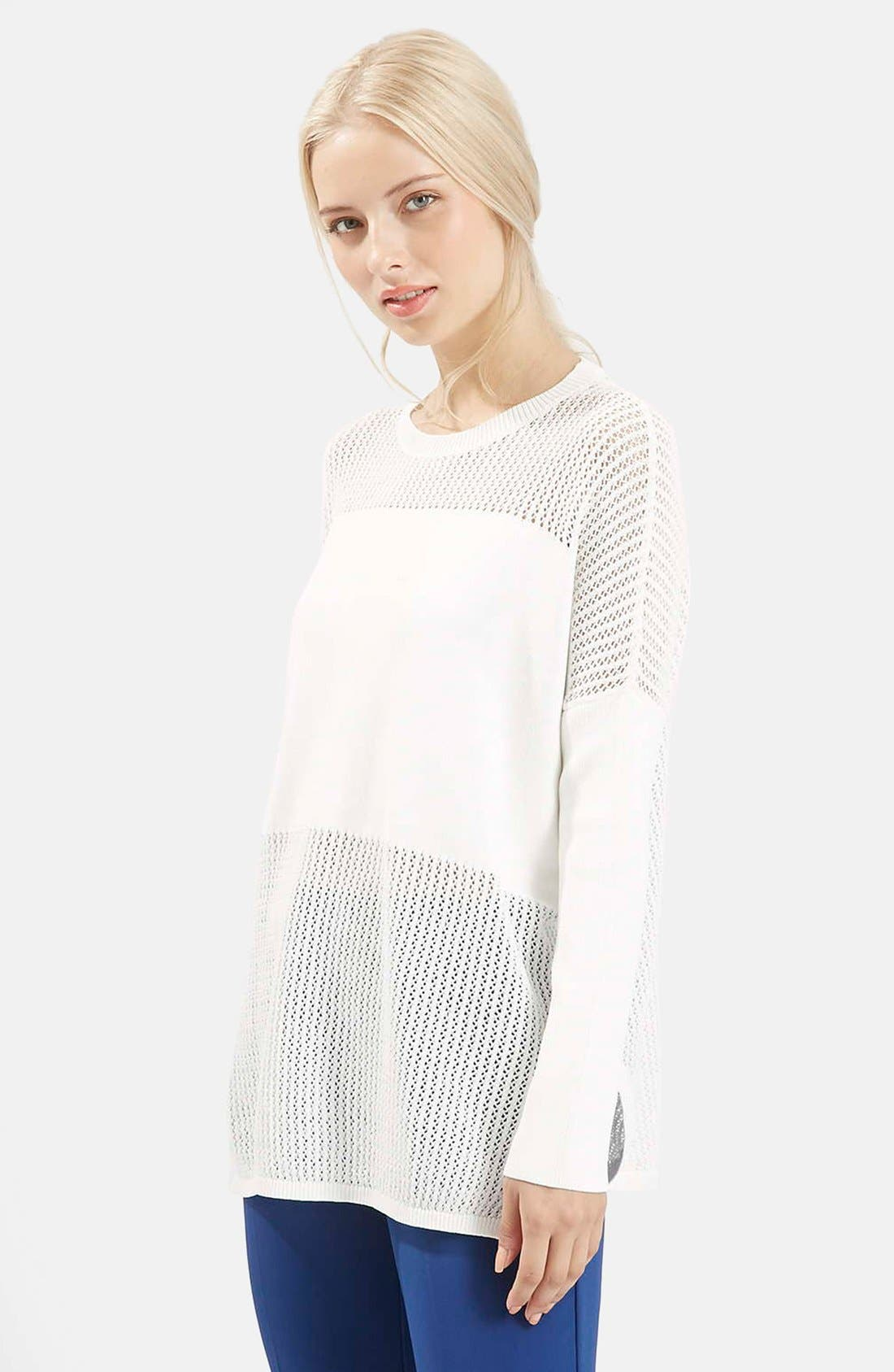 Alternate Image 1 Selected - Topshop Paneled Pointelle Sweater