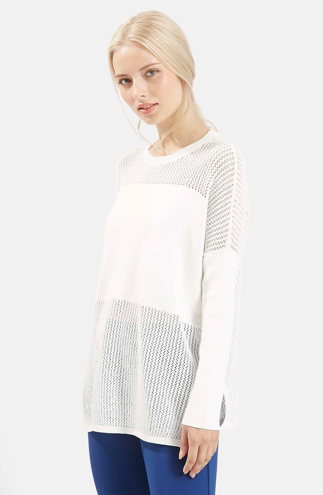 Main Image - Topshop Paneled Pointelle Sweater