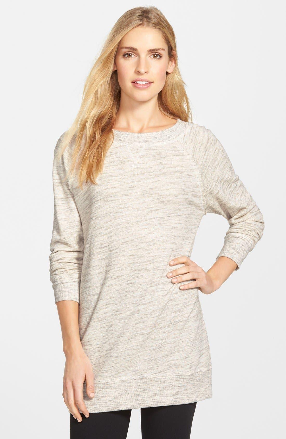 Alternate Image 1 Selected - Caslon® Space Dye Tunic Sweatshirt (Regular & Petite)